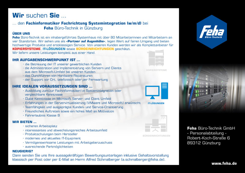 Fachinformatiker In Systemintegration In Günzburg Feha Büro